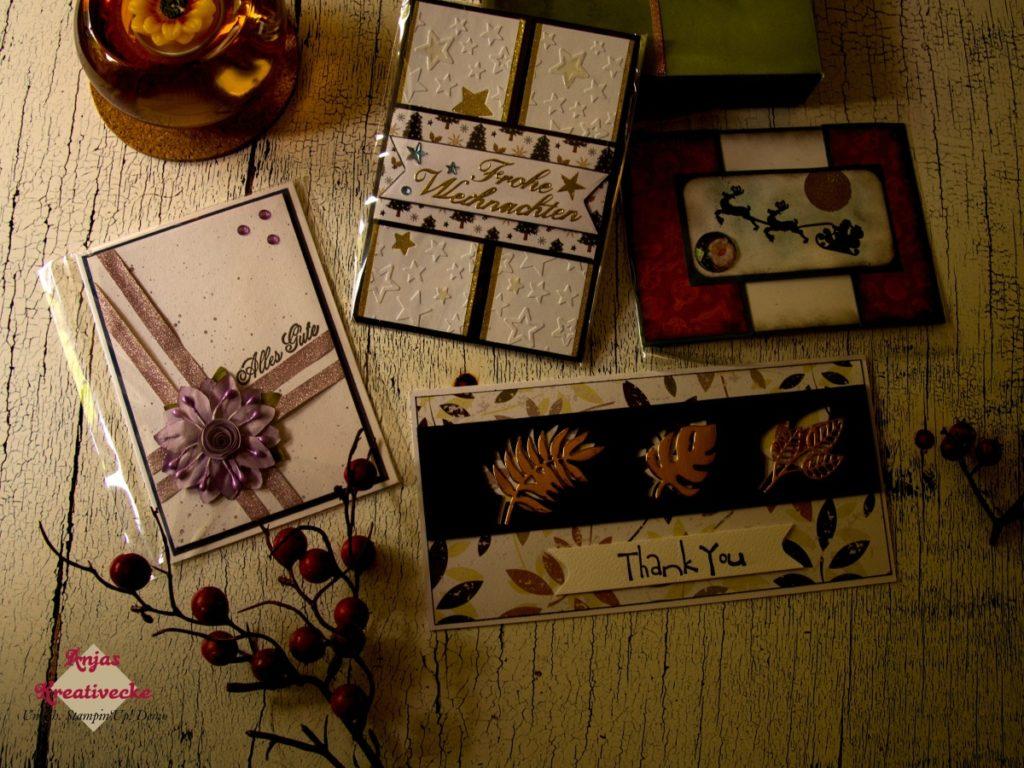 Vier herbstliche und weihnachtliche Karten